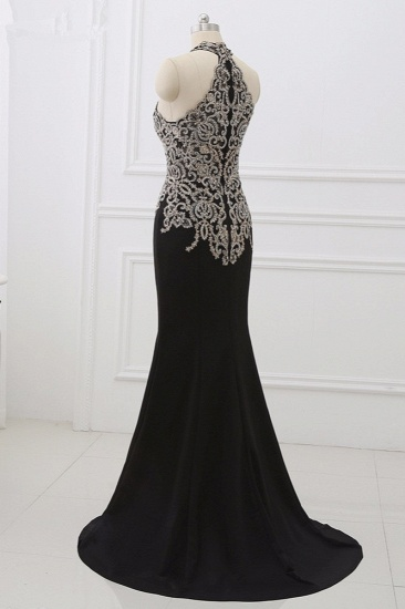 Chic High-Neck Sleeveless Black Mermaid Prom Dresses with Appliques Beadings_7
