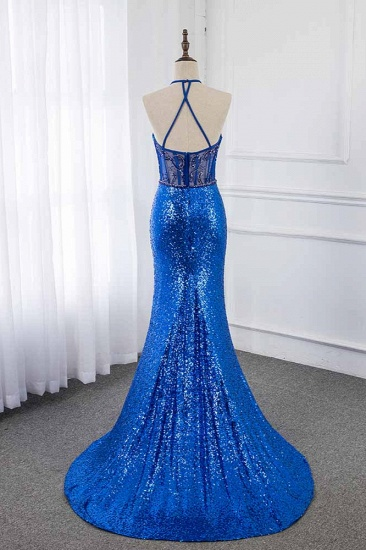 Sparkly Sequined Halter Sleeveless Royal Blue Prom Dresses with Beadings_3