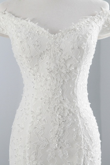 BMbridal Elegant Lace Off-the-Shoulder White Mermaid Wedding Dresses Affordable Online_7