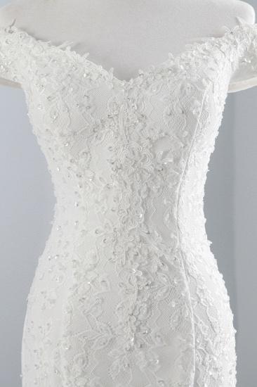 Elegant Lace Off-the-Shoulder White Mermaid Wedding Dresses Cheap Online_7