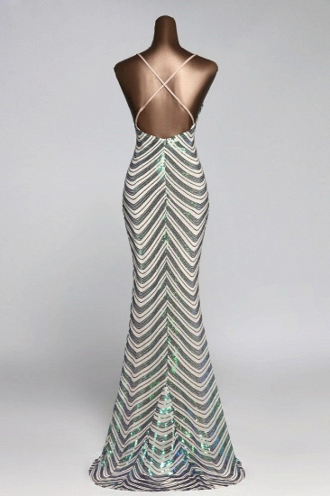 Sparkly Stripe Sequins Mermaid Long Prom Dresses with Spaghetti Straps_4