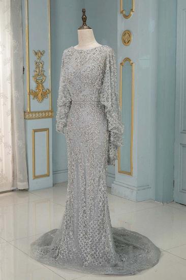 Elegant Jewel Long Sleeves Mermaid Prom Dresses with Appliques Beadings_5
