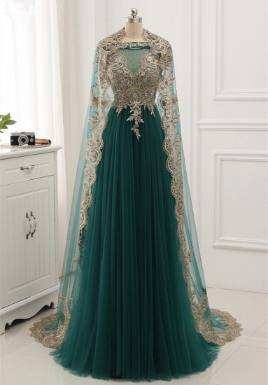 Elegant Tulle Jewel Beading Appliques Prom Dresses with Ruffles Online_4