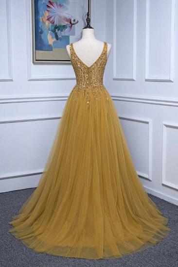 BMbridal Glamorous Tulle Straps V-Neck Ruffle Prom Dresses with Beadings Online_3