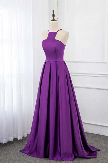 BMbridal Chic Satin Spaghetti Straps Sleeveless Long Prom Dresses with Ruffle Online_4
