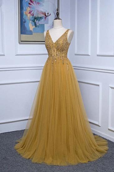 BMbridal Glamorous Tulle Straps V-Neck Ruffle Prom Dresses with Beadings Online_4
