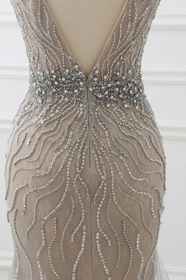 BMbridal Elegant Strap V-Neck Sleeveless Mermaid Prom Dresses with Beadings Ruffles_8