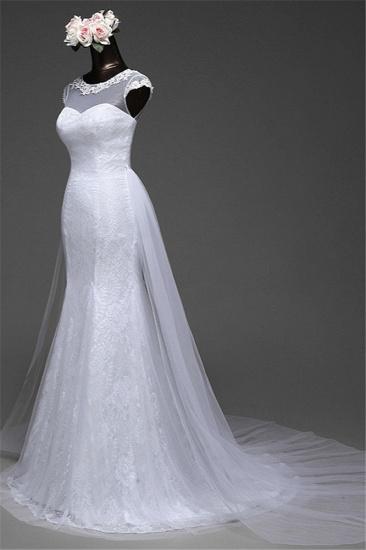 Glamorous Lace Jewel White Mermaid Wedding Dresses with Beadings Online_7