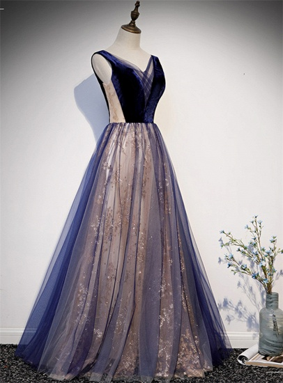 Affordable Tulle V-Neck Sleeveless Beading Prom Dresses with Appliques Online_4