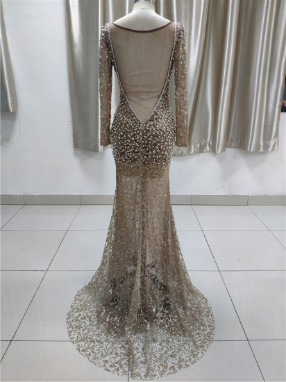 Luxury Lace Long Sleeves Slit Prom Dresses with Appliques Pearls Online_3