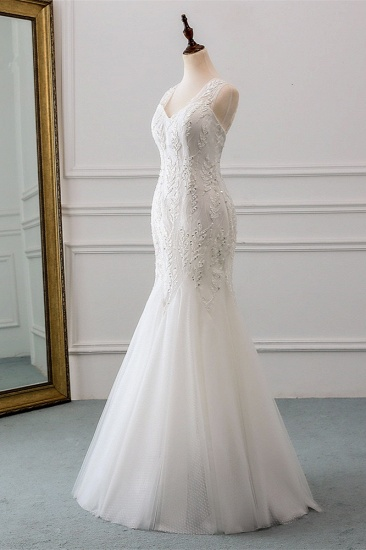 Affordable V-Neck Appliques Mermaid Wedding Dresses with Beadings Online_4
