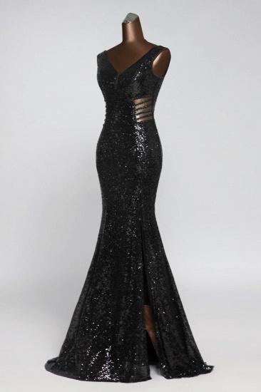 BMbridal Affordable V-Neck Pink Mermaid Prom Dresses with Front-Slit Online_11