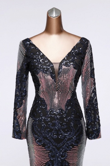 Sparkly Sequined V-Neck Mermaid Long Prom Dresses with Long Sleeves Online_12