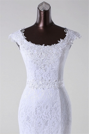 BMbridal Gorgeous Lace Jewel Mermaid White Wedding Dresses with Appliques Online_6
