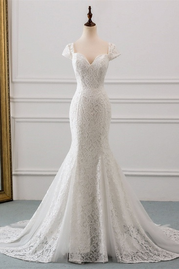 Elegant Lace Cap-Sleeves Sweetheart Mermaid Wedding Dresses Online_2