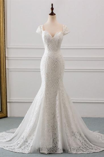 BMbridal Elegant Lace Cap-Sleeves Sweetheart Mermaid Wedding Dresses Online_1