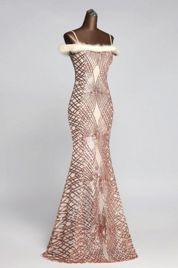 Glamorous Sequined Off-the-Shoulder Mermaid Prom Dresses with Fur_5
