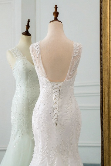 Affordable V-Neck Appliques Mermaid Wedding Dresses with Beadings Online_8