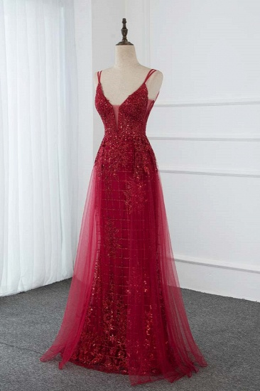Gorgeous Spaghetti Straps Burgundy Prom Dresses with Beading Appliques