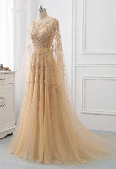 Elegant Jewel Long Sleeves Ruffle Prom Dresses with Beadings Online_4