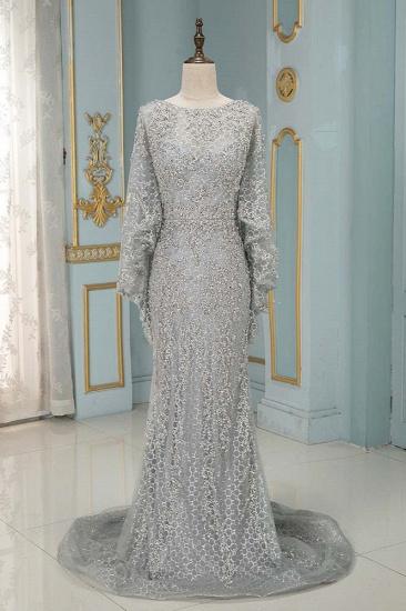 Elegant Jewel Long Sleeves Mermaid Prom Dresses with Appliques Beadings_2