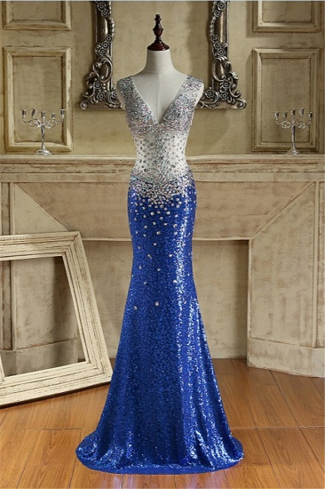 Sparkly Sequined V-Neck Royal Blue Prom Dresses with Beadings