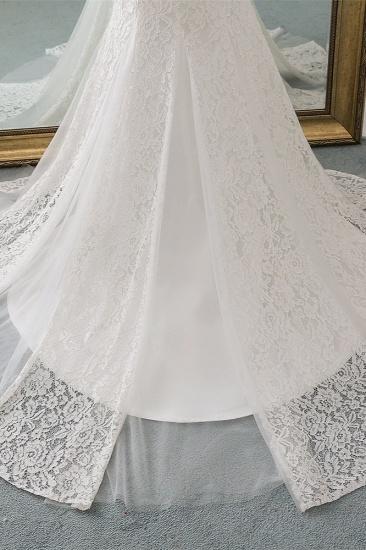 Elegant Lace Cap-Sleeves Sweetheart Mermaid Wedding Dresses Online_8