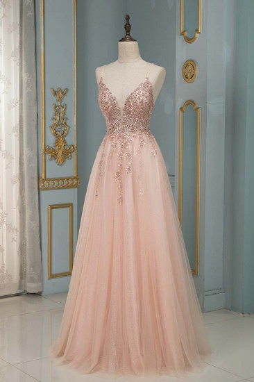 Elegant Tulle Spaghetti Strap V-Neck Pink Prom Dress with Beading Appliques_3