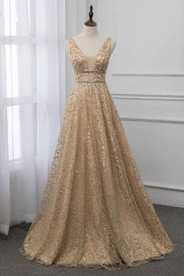 Glamorous V-Neck Sleeveless Appliques Prom Dresses with Beadings Online
