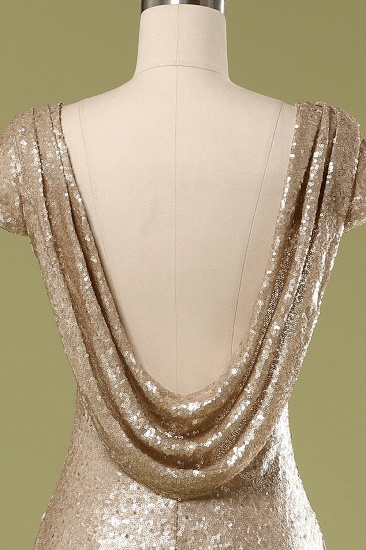 Sparkly Sequined Jewel Sheath Prom Dress with Short Sleeves and Draped Back_5