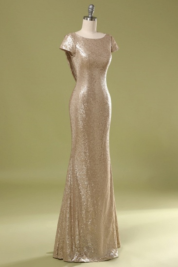 Sparkly Sequined Jewel Sheath Prom Dress with Short Sleeves and Draped Back_4