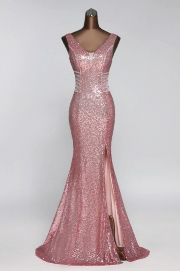 Affordable V-Neck Pink Mermaid Prom Dresses with Front-Slit Online