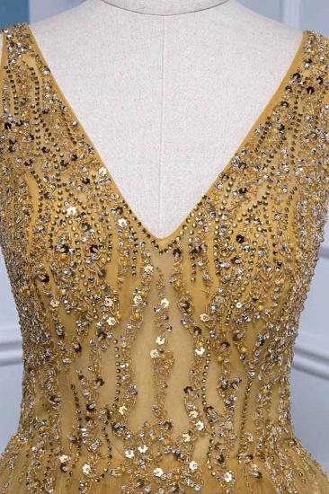 BMbridal Glamorous Tulle Straps V-Neck Ruffle Prom Dresses with Beadings Online_5