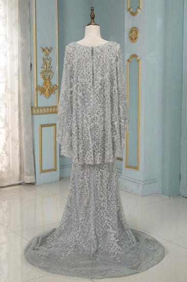 Elegant Jewel Long Sleeves Mermaid Prom Dresses with Appliques Beadings_4