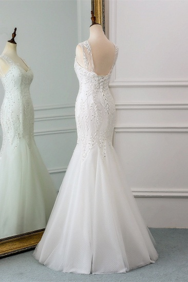Affordable V-Neck Appliques Mermaid Wedding Dresses with Beadings Online_5