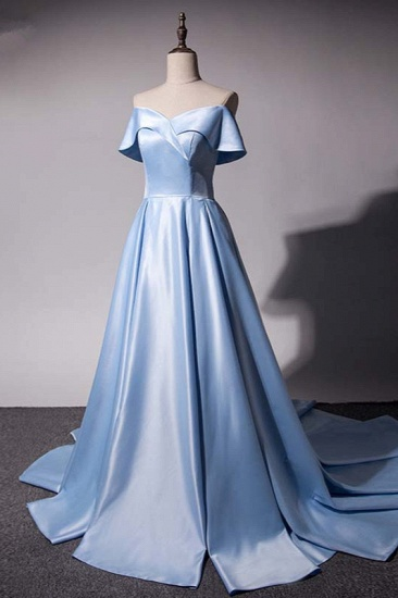 Elegant Satin Off-the-Shoulder Sweetheart Prom Dresses with Ruffles_4