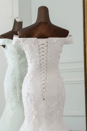 BMbridal Gorgeous Tulle Sweetheart Long Mermaid Wedding Dresses with Lace Online_6