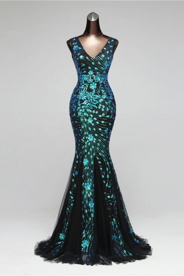 Luxury Tulle V-Neck Sleeveless Mermaid Prom Dress with Sequins_2
