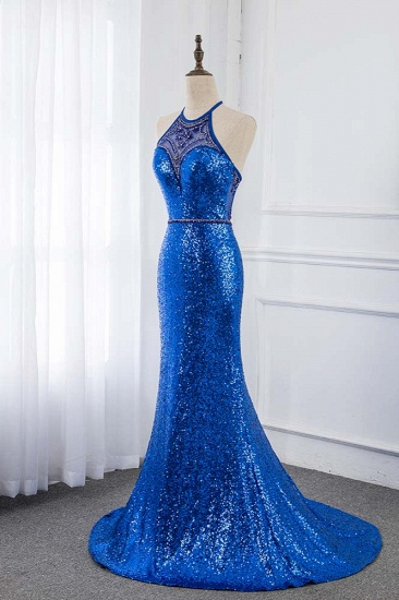 Sparkly Sequined Halter Sleeveless Royal Blue Prom Dresses with Beadings_4