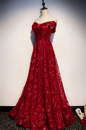 Gorgeous Off-the-Shoulder Sleeveless Burgundy Prom Dresses with Appliques_4