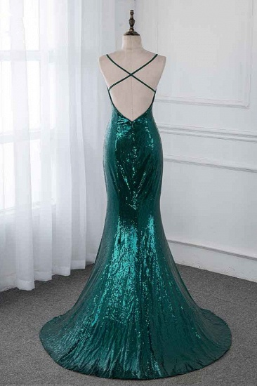 BMbridal Sparkly Sequined Spaghetti Straps V-Neck Prom Dresses with Backless Online_3