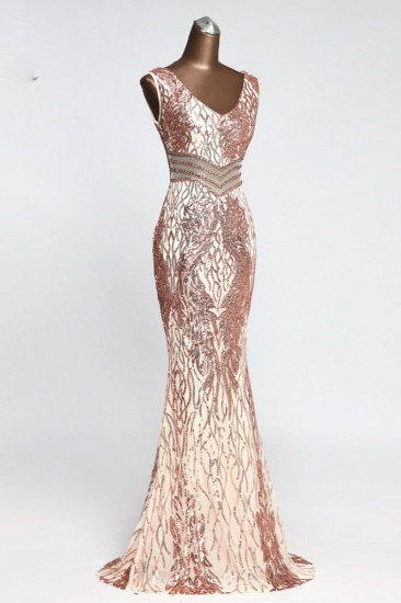 BMbridal Sparkly Sequined Sleeveless Mermaid Pink Long Prom Dresses with Beadings_6