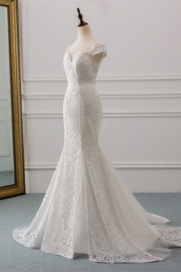 Elegant Lace Cap-Sleeves Sweetheart Mermaid Wedding Dresses Online_4