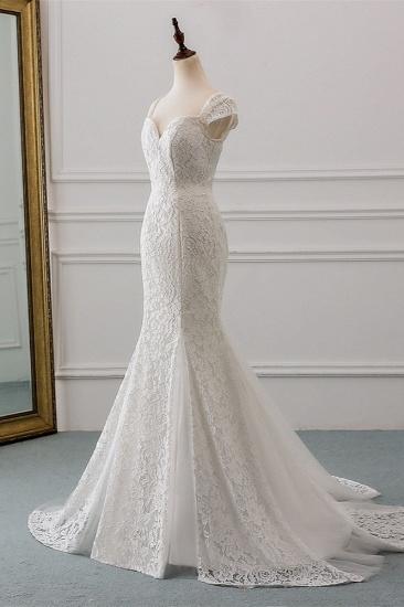 BMbridal Elegant Lace Cap-Sleeves Sweetheart Mermaid Wedding Dresses Online_4