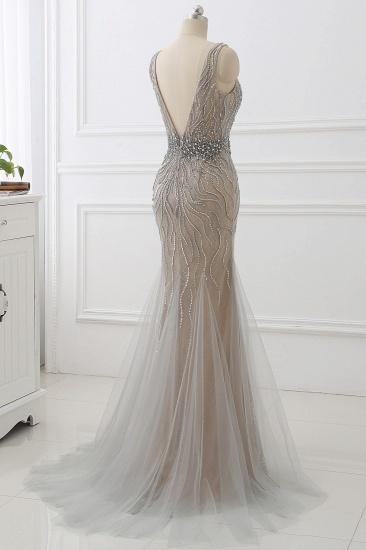 BMbridal Elegant Strap V-Neck Sleeveless Mermaid Prom Dresses with Beadings Ruffles_3