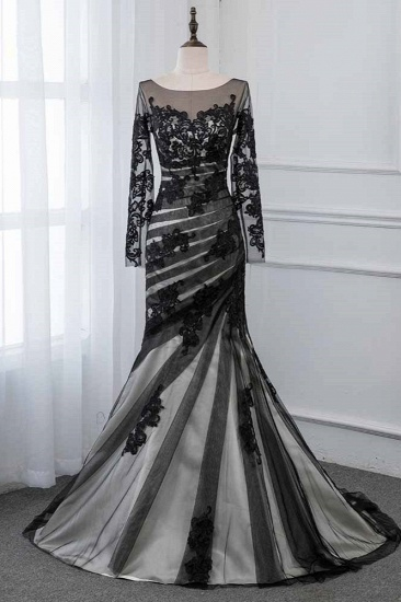 BMbridal Elegant Tulle Jewel Appliques Prom Dresses with Long Sleeves Online_1