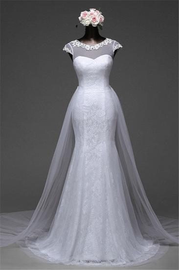 Glamorous Lace Jewel White Mermaid Wedding Dresses with Beadings Online_6