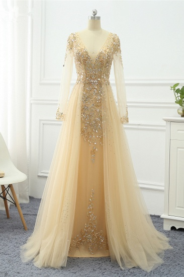 Elegant V-Neck Long Sleeves Appliques Beadings Prom Dresses with Overskirt_3
