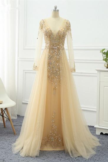 BMbridal Elegant V-Neck Long Sleeves Appliques Beadings Prom Dresses with Overskirt_3
