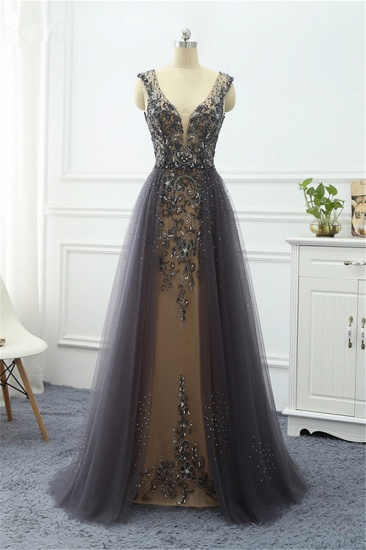 Elegant Tulle V-Neck Ruffle Beadings Prom Dresses with Appliques_4